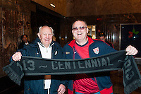 Former men's national team player Walter Bahr poses for a photo with fan Thomas W Fraehmke during the centennial celebration of U. S. Soccer at the Empire State Building in New York, NY, on April 05, 2013.