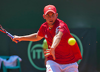 Austria, Kitzbühel, Juli 17, 2015, Tennis, Davis Cup, First round match between Dominic Thiem (AUT) vs Thiemo de Bakker (NED)  pictured: Dominic Thiem <br /> Photo: Tennisimages/Henk Koster