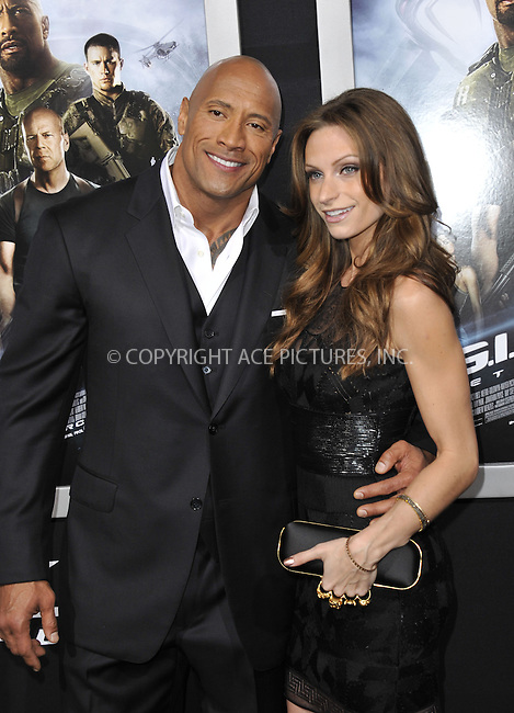 WWW.ACEPIXS.COM....March 28 2013, LA....Dwayne Johnson (The Rock) and  Lauren Hashian arriving at the 'G.I. Joe: Retaliation' Los Angeles premiere at the TCL Chinese Theatre on March 28, 2013 in Hollywood, California.......By Line: Peter West/ACE Pictures......ACE Pictures, Inc...tel: 646 769 0430..Email: info@acepixs.com..www.acepixs.com