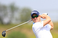 Paul Maddy (ENG) on the 1st tee during Round 1 of the Challenge de Madrid, a Challenge  Tour event in El Encin Golf Club, Madrid on Wednesday 22nd April 2015.<br /> Picture:  Thos Caffrey / www.golffile.ie