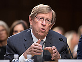 "Theodore ""Ted"" Olson, former United States Solicitor General, and current partner, Gibson, Dunn & Crutcher, testifies in favor of the nomination of Judge Brett Kavanaugh before the US Senate Judiciary Committee on his nomination as Associate Justice of the US Supreme Court to replace the retiring Justice Anthony Kennedy on Capitol Hill in Washington, DC on Friday, September 7, 2018.<br /> Credit: Ron Sachs / CNP"