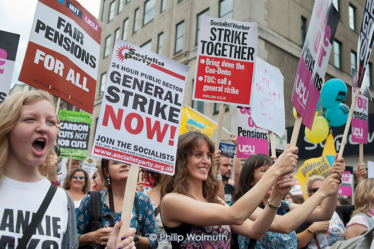 Striking public sector workers demonstrate in London over planned pension changes.