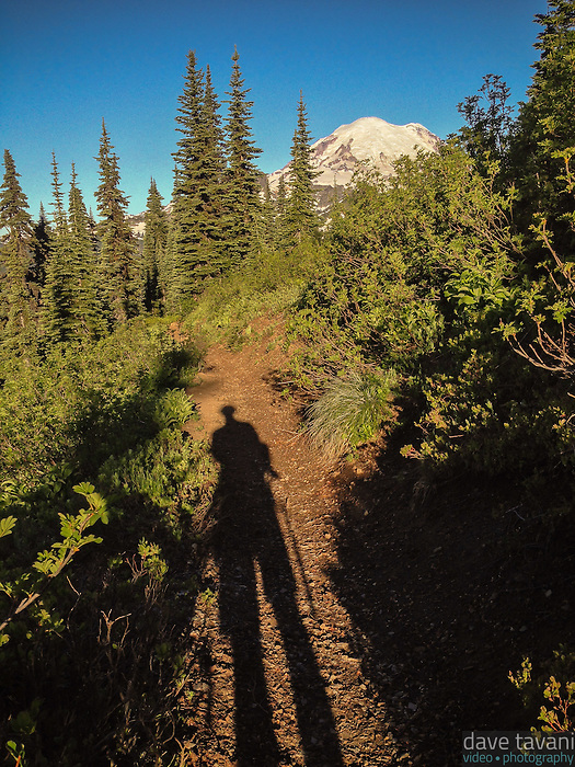 My shadow stands tall in the morning light along the Naches Peak Loop Trail in Mt. Rainier National Park.