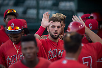 AZL Angels first baseman Brett Bond (10) is congratulated by his teammates in the dugout after scoring a run during an Arizona League game against the AZL Indians 2 at Tempe Diablo Stadium on June 30, 2018 in Tempe, Arizona. The AZL Indians 2 defeated the AZL Angels by a score of 13-8. (Zachary Lucy/Four Seam Images)