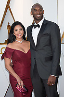 Oscar&reg; nominee Kobe Bryant and Vanessa Laine Bryant arrive on the red carpet of The 90th Oscars&reg; at the Dolby&reg; Theatre in Hollywood, CA on Sunday, March 4, 2018.<br /> *Editorial Use Only*<br /> CAP/PLF/AMPAS<br /> Supplied by Capital Pictures
