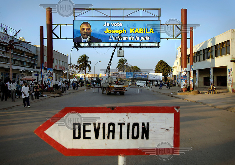 An election billboard for president Joseph Kabila, describing him as the peacemaker. Congo's first multi-party elections in over 40 years are scheduled for July 30th 2006.