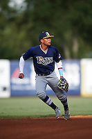 Shortstop Matthew Golda (4) of the Inspiration Academy in Bradenton, Florida playing for the Tampa Bay Rays scout team during the East Coast Pro Showcase on August 3, 2016 at George M. Steinbrenner Field in Tampa, Florida.  (Mike Janes/Four Seam Images)