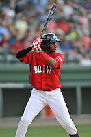 Center fielder Luis Alexander Basabe (19) of the Greenville Drive bats in a game against the Greensboro Grasshoppers on Thursday, July 14, 2016, at Fluor Field at the West End in Greenville, South Carolina. Greenville won, 3-1. (Tom Priddy/Four Seam Images)