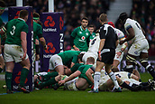 17th March 2018, Twickenham, London, England; NatWest Six Nations rugby, England versus Ireland; England push towards the Irish try line