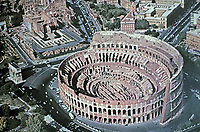 Aerial view of the Colosseum, Rome, Italy, 80 AD