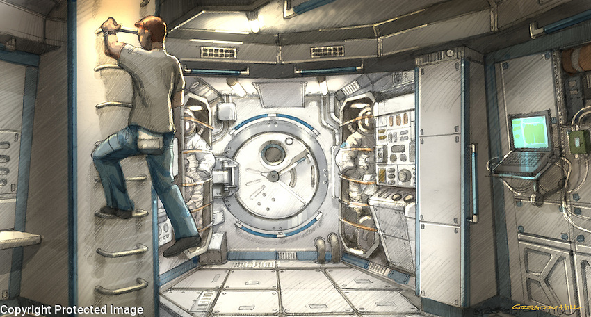 The Airlock Door is flanked by space suit storage lockers. At left Andrej (Michael : airlock door - pezcame.com