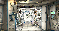 The Airlock Door is flanked by space suit storage lockers. At left Andrej (Michael Nuqvist) climbs the ladder to the cockpit.