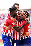 Angel Correa of Atletico de Madrid (R) celebrating his goal with his teammates during the La Liga 2018-19 match between Atletico de Madrid and Real Betis at Wanda Metropolitano Stadium on October 07 2018 in Madrid, Spain. Photo by Diego Souto / Power Sport Images