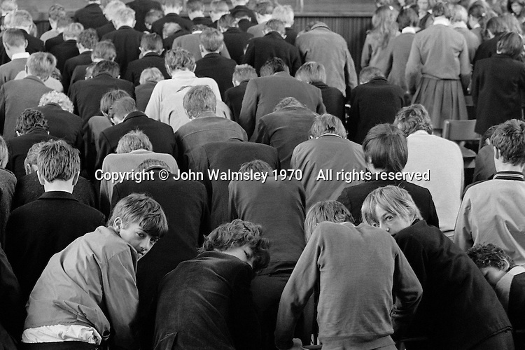 Morning assembly, Whitworth Comprehensive School, Whitworth, Lancashire.  1970.