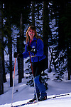 Woman cross countryskiing at Castle Peak