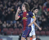 16.01.2013 Barcelona, Spain. Spanish Cup, quarter-final first leg. Picture show  Carles Puyol  in action during game FC Barcelona v Malaga at Camp Nou.