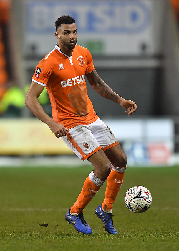Blackpool's Curtis Tilt<br /> <br /> Photographer Dave Howarth/CameraSport<br /> <br /> The Emirates FA Cup Second Round Replay - Blackpool v Solihull Moors - Tuesday 18th December 2018 - Bloomfield Road - Blackpool<br />  <br /> World Copyright © 2018 CameraSport. All rights reserved. 43 Linden Ave. Countesthorpe. Leicester. England. LE8 5PG - Tel: +44 (0) 116 277 4147 - admin@camerasport.com - www.camerasport.com
