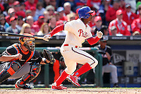 Philadelphia Phillies outfielder Juan Pierre #10 during their home opener against the Miami Marlins at Citizens Bank Park on April 9, 2012 in Philadelphia, Pennsylvania.  Miami defeated Philadelphia 6-2.  (Mike Janes/Four Seam Images)