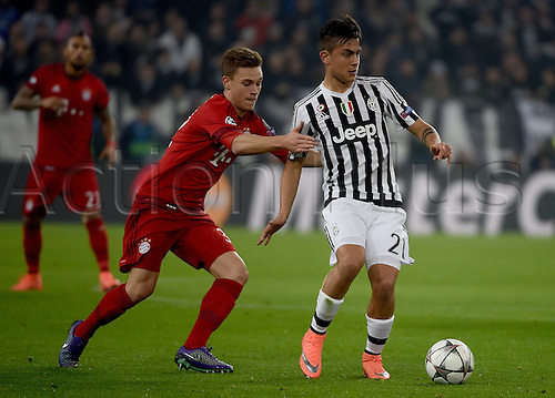 23.02.2016. Turin, Italy. UEFA Champions League football. Juventus versus Bayern Munich.  Joshua Kimmich (FC Bayern Mun), Paulo Dybala (Juventus)<br />