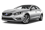 Stock pictures of low aggressive front three quarter view of 2017 Volvo S60 R-Design 4 Door Sedan Low Aggressive