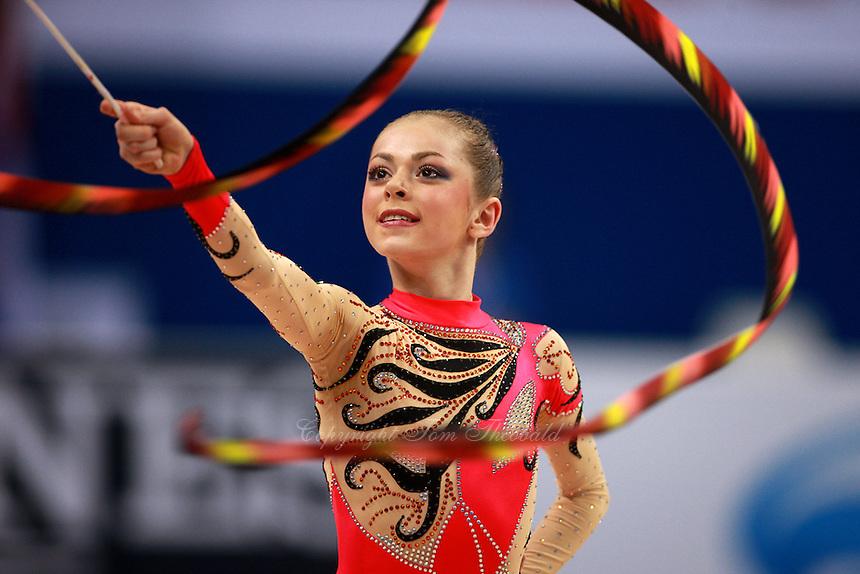 Mariya Mateva of Bulgaria (junior) performs ribbon event final at 2008 European Championships at Torino, Italy on June 7, 2008.  Photo by Tom Theobald.