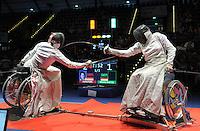European Championships Fencing 2010 / Fecht Europameisterschaft 2010 in Leipzig - Competition Championat d'europe - im Bild: the new european champion  Imke Duplitzer (GER) against Simone Briese-Baetke (GER, left) in wheel chair fencing  . Foto: Norman Rembarz..Norman Rembarz , Autorennummer 41043728 , Augustenstr. 2, 04317 Leipzig, Tel.: 01794887569, Hypovereinsbank: BLZ: 86020086, KN: 357889472, St.Nr.: 231/261/06432 - Jegliche kommerzielle Nutzung ist honorar- und mehrwertsteuerpflichtig! Persönlichkeitsrechte sind zu wahren. Es wird keine Haftung übernommen bei Verletzung von Rechten Dritter. Autoren-Nennung gem. §13 UrhGes. wird verlangt. Weitergabe an Dritte nur nach  vorheriger Absprache..