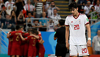 SARANSK - RUSIA, 25-06-2018: Sardar AZMOUN jugador de RI de Irán luce decepcionado después del partido de la primera fase, Grupo B, entre RI de Irán y Portugal por la Copa Mundial de la FIFA Rusia 2018 jugado en el estadio Mordovia Arena en Saransk, Rusia. / Sardar AZMOUN player of IR Iran looks disappointed after the match between IR Iran and Portugal of the first phase, Group B, for the FIFA World Cup Russia 2018 played at Mordovia Arena stadium in Saransk, Russia. Photo: VizzorImage / Julian Medina / Cont