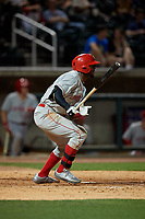 Chattanooga Lookouts Michael Beltre (39) hits a single during a Southern League game against the Birmingham Barons on May 2, 2019 at Regions Field in Birmingham, Alabama.  Birmingham defeated Chattanooga 4-2.  (Mike Janes/Four Seam Images)