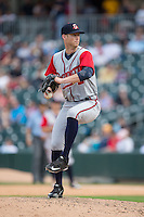 Gwinnett Braves relief pitcher David Peterson (39) in action against the Charlotte Knights at BB&T BallPark on May 22, 2016 in Charlotte, North Carolina.  The Knights defeated the Braves 9-8 in 11 innings.  (Brian Westerholt/Four Seam Images)