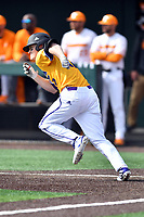 Western Illinois Luke Schwartz (12) runs to first base during a game against the University of Tennessee at Lindsey Nelson Stadium on February 15, 2020 in Knoxville, Tennessee. The Volunteers defeated Leathernecks 19-0. (Tony Farlow/Four Seam Images)