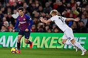 2nd February 2019, Camp Nou, Barcelona, Spain; La Liga football, Barcelona versus Valencia; Philippe Coutinho of FC Barcelona takes on Wass of Valencia CF