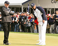 27 SEP 12  Tiger Woods works on his game with short game legend Dave Stockton during Thursdays Practice Round at The 39th Ryder Cup at The Medinah Country Club in Medinah, Illinois.