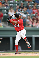 Center fielder Lorenzo Cedrola (5) of the Greenville Drive bats in a game against the Charleston RiverDogs on Friday, July 28, 2017, at Fluor Field at the West End in Greenville, South Carolina. Charleston won, 6-1. (Tom Priddy/Four Seam Images)