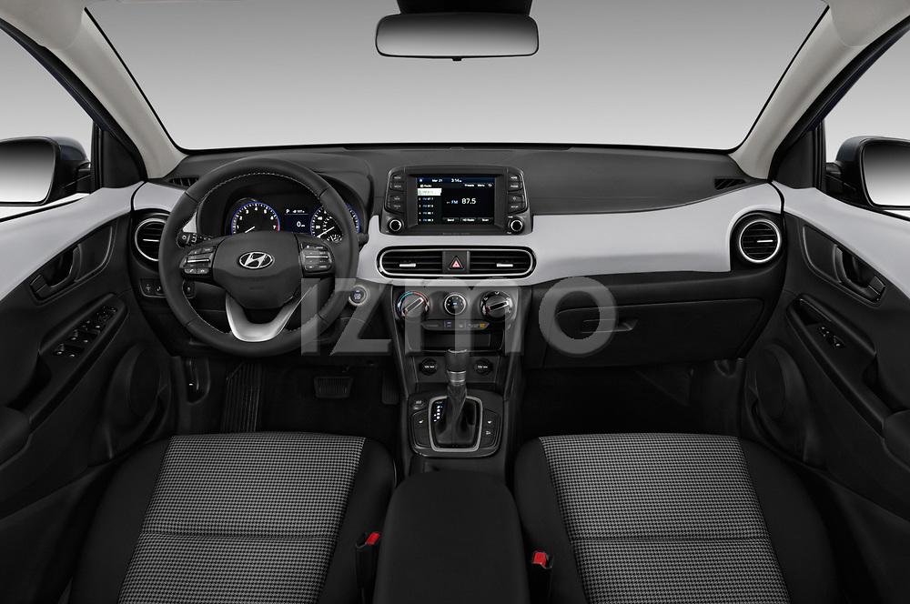 Stock photo of straight dashboard view of a 2019 Hyundai Kona SEL AUTO 5 Door SUV