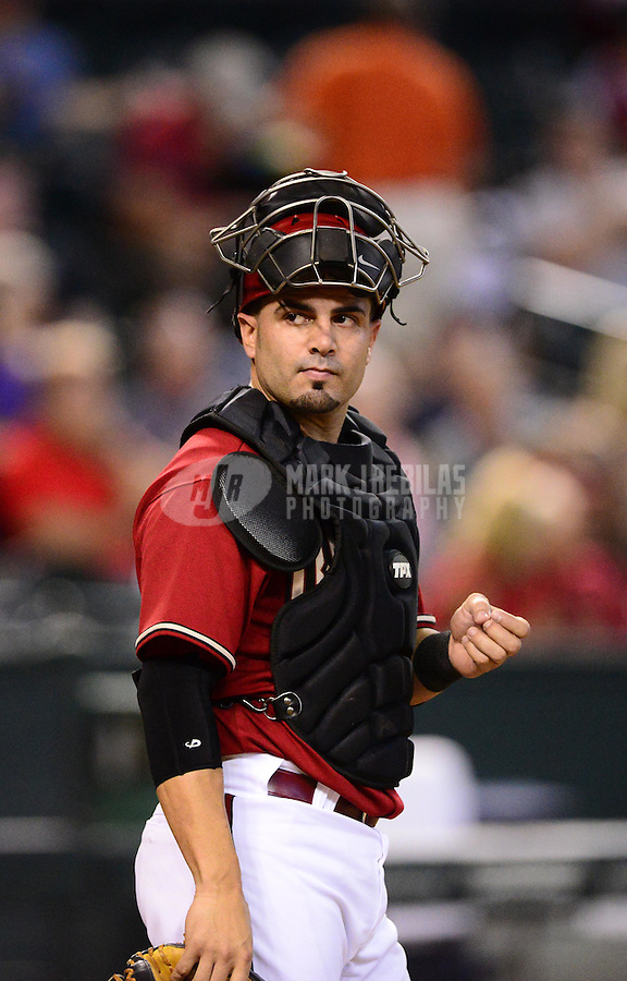 Aug. 29, 2012; Phoenix, AZ, USA: Arizona Diamondbacks catcher Wil Nieves against the Cincinnati Reds at Chase Field. Mandatory Credit: Mark J. Rebilas-USA TODAY Sports