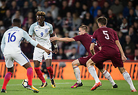 Tammy Abraham (Swansea City (on loan from Chelsea) of England U21 looks for a way through during the UEFA EURO U-21 First qualifying round International match between England 21 and Latvia U21 at the Goldsands Stadium, Bournemouth, England on 5 September 2017. Photo by Andy Rowland.