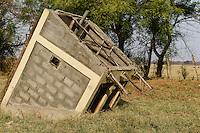 ETHIOPIA Gambela, toilet house after flood/ AETHIOPIEN Gambella, abgesacktes Toilettenhaus nach Hochwasser