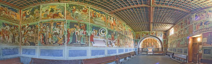 France, Savoie (73), Lanslevillard, chapelle Saint-Sébastien, les fresques, vue panoramique // France, Savoie, Lanslevillard, chapel Sat Sebastien, frescoes, panoramic view