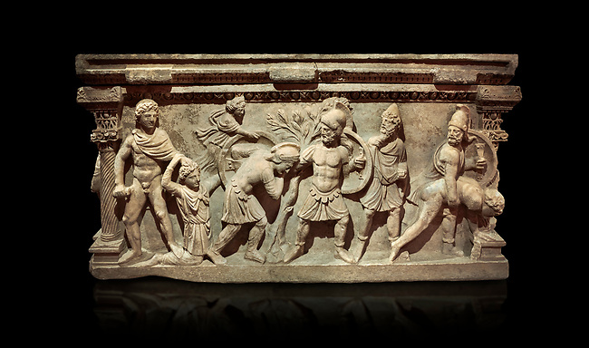 Roman relief sculpted sarcophagus of Aurelia Botiano and Demetria, 2nd century AD, Perge Inv 1.35.99. Antalya Archaeology Museum, Turkey.. Against a black background.