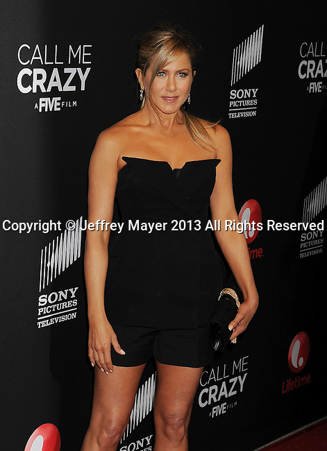 WEST HOLLYWOOD, CA- APRIL 16: Jennifer Aniston arrives at the Lifetime movie premiere of 'Call Me Crazy: A Five Film' at Pacific Design Center on April 16, 2013 in West Hollywood, California.