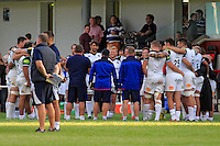 The Bath Rugby team huddle together after the match. Pre-season friendly match, between Yorkshire Carnegie and Bath Rugby on August 13, 2016 at Ilkley RFC in Ilkley, England. Photo by: Ian Smith / Onside Images