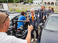 Austria, Kitzbuhel, Juli 14, 2015, Tennis, Davis Cup, Training Dutch team getting ready for the press conference<br /> Photo: Tennisimages/Henk Koster