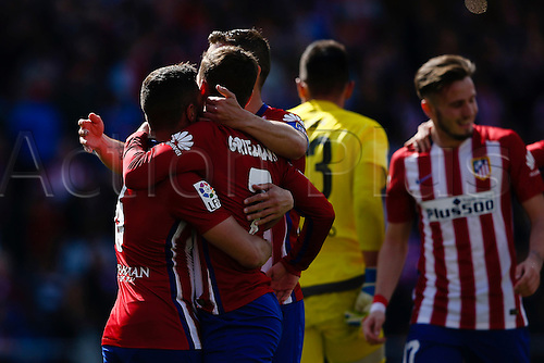 02.04.2016. Madrid, Spain.  Antonie Griezmann (7) Atletico de Madrid's player celebrates after scoring his team´s 2nd goal. La Liga match between Atletico de Madrid and Real Betis at the Vicente Calderon stadium in Madrid, Spain, April 2, 2016 .