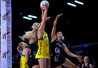 Gretel Tippett beats Jane Watson to the ball during the Constellation Cup Series international netball match between the New Zealand Silver Ferns and Samsung Australian Diamonds at TSB Bank Arena in Wellington, New Zealand on Thursday, 18 October 2018. Photo: Dave Lintott / lintottphoto.co.nz