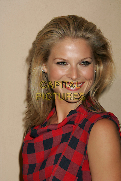 ALI LARTER.ELLE Magazine's 14th Annual Women in Hollywood held at the Four Seasons Hotel,  Beverly Hills, California, USA.October 15th, 2007.headshot portrait red and blue checked print squares tartan plaid gingham.CAP/ADM/RE.©Russ Elliot/AdMedia/Capital Pictures.
