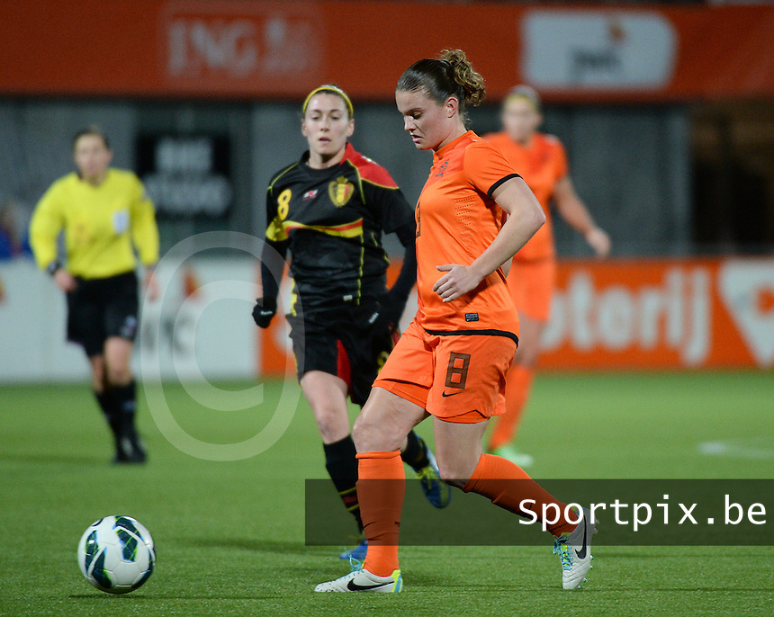 20140212 - ZWOLLE , THE NETHERLANDS : Dutch Sherida Spitse pictured during the female soccer match between The Netherlands and Belgium , on the fifth matchday in group 5 of the UEFA qualifying round to the FIFA Women World Cup in Canada 2015 at Het Ijseldelta Stadion , Zwolle . Wednesday 12th February 2014 . PHOTO DAVID CATRY