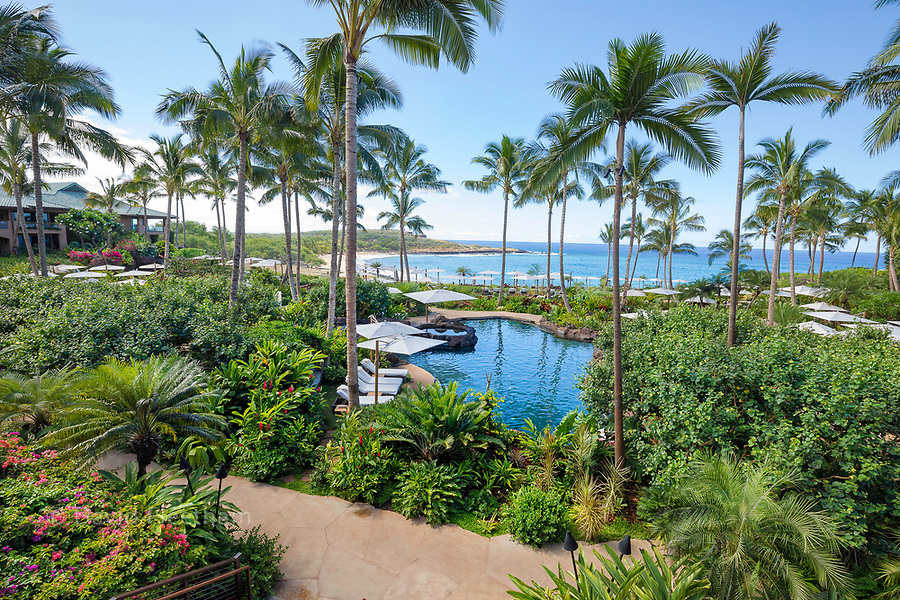A 2017 view of Hulopoe Beach from the newly renovated Four Seasons Resort Lanai at Manele Bay, Lanai, Hawaii.