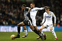 Reading's Leandro Bacuna under pressure from Leeds United's Kemar Roofe and Jack Clarke<br /> <br /> Photographer Rich Linley/CameraSport<br /> <br /> The EFL Sky Bet Championship - Leeds United v Reading - Tuesday 27th November 2018 - Elland Road - Leeds<br /> <br /> World Copyright © 2018 CameraSport. All rights reserved. 43 Linden Ave. Countesthorpe. Leicester. England. LE8 5PG - Tel: +44 (0) 116 277 4147 - admin@camerasport.com - www.camerasport.com