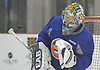 Linus Soderstrom #35, goalie, makes a save during New York Islanders Prospect Mini Camp at Northwell Health Ice Center in East Meadow, NY on Wednesday, June 28, 2017.