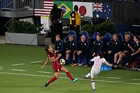 Carson, CA - Thursday August 03, 2017: Alex Morgan, Aya Sameshima during a 2017 Tournament of Nations match between the women's national teams of the United States (USA) and Japan (JPN) at the StubHub Center.